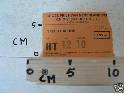 1984 Ticket Dutch Tt Assen 1984 Grand Prix,Moto Gp Hoofdtribune