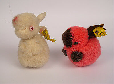"Original Steiff  * Hase "" Wollhase 7162/06 in Rot & 7141/06 weiß * Knopf & Fahne"