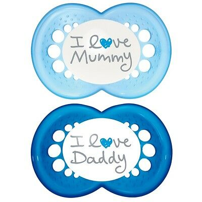 Mam Style I Love Mummy And Daddy Soothers With Sterilisable Travel Case (6