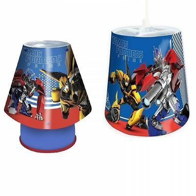 Transformers 2pc Childrens Bedroom E14 Kool Lamp Tapered Pendant Light Shade Set