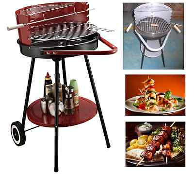 Charcoal Trolley BBQ Garden Outdoor Barbecue Cooking Camping Grill Wheel Travel