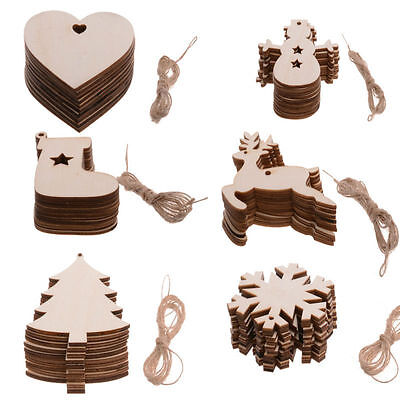 10PCS Wooden Blank Tag Christmas Hanging XMAS Tree Decorations Gift Craft Shape