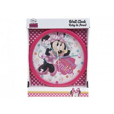 25cm Disney Minnie Mouse Wall Clock - Printed Gift Box Kids Home Décor Bedroom