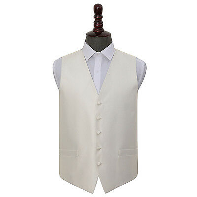 DQT Woven Plain Solid Check Ivory Formal Mens Wedding Waistcoat S-5XL