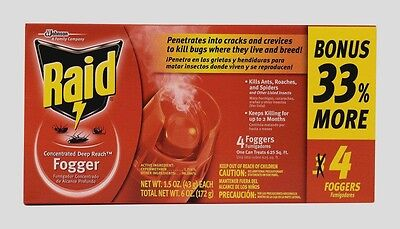 4pk RAID Deep Reach Aerosol Fogger Odorless Kills Ants, Roaches, & Spiders 74251