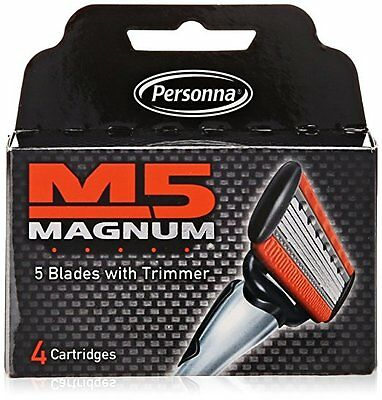 Personna M5 Magnum Razor Refill Blades with Trimmer, 4 Cartridges