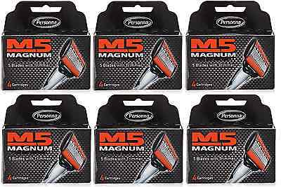 Personna M5 Magnum Razor Refill Blades with Trimmer, 4 Cartridges (6 Pack)
