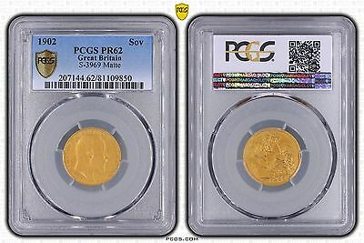 Great Britain 1902  Gold Matte Proof King Edward Vii Sovereign Pcgs Pr62 S-3969