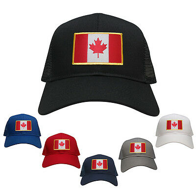 Canada Embroidered Gold Border Flag Iron On Patch Adjustable Mesh Trucker Cap