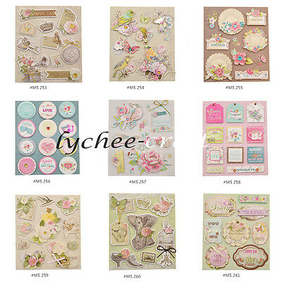 3D Double Layer Adhesive Stickers Decals Vintage Scrapbooking Album Card DIY New