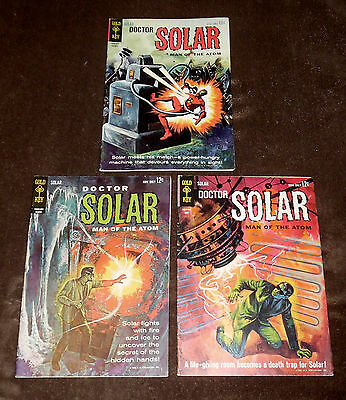 (3) Doctor Solar, Man of the Atom  # 3, 4, 9 Comics Lot Gold Key Silver Age