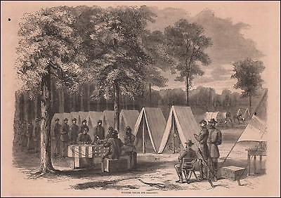 CIVIL WAR SOLDIERS VOTING for PRESIDENT, antique engraving, original 1868