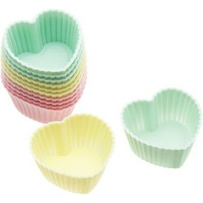 3.5cm Mini 12 Pack Of Silicone Heart Shaped Cupcake Cases - Pastel Colour Treat