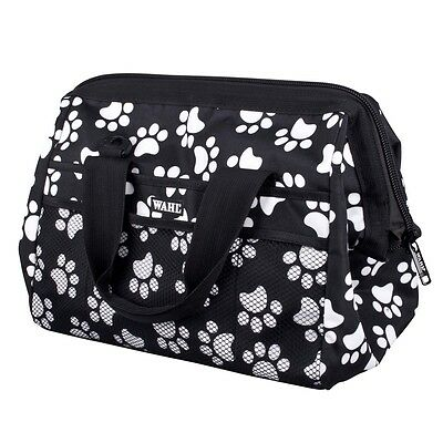 White & Black Paw Print Wahl Grooming Frogmouth Bag - Animal Hair Styling
