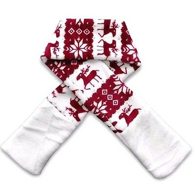 DELUXE LARGE PET SCARF - White & Red Reindeer - Soft Warm Dog Puppy Present Gift