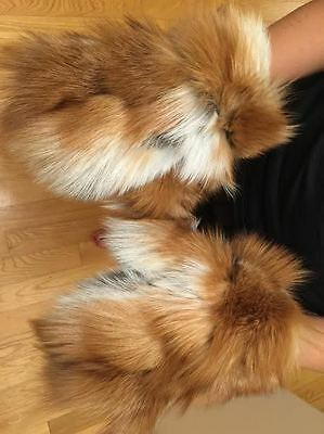 New Real Natural Red Fox Fur Gloves Mittens Soft and Furry