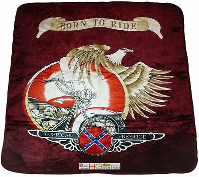 79x94 Harley Davidson Indian Motorcycle Born to Ride Faux Mink Queen Blanket