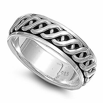 Men Women 7mm 925 Sterling Silver Oxidize Finish Celtic Spinner Ring
