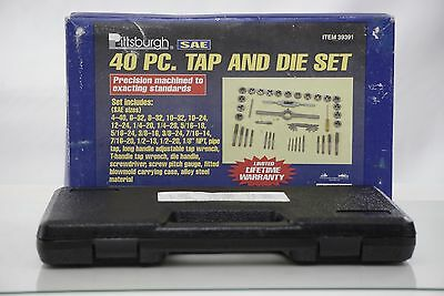 40pc SAE Standard Tap & Die Set w/ Case Screw Extractor Remover Kit Thread