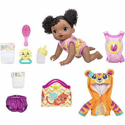 Baby Alive Baby Go Bye-Bye Doll English Spanish bonus outfit, mat & Diaper AA