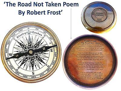 Brass Magnetic Compass  Road Not Taken Poem Robert Frost Mens Travel Gift 8cm