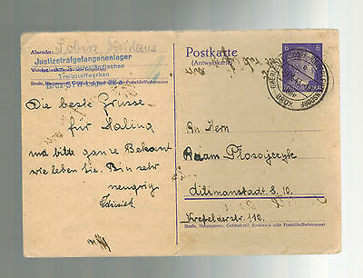 1943 Brux Germany Flossenburg Concentration Sub Camp Postcard Cover Treibstoff