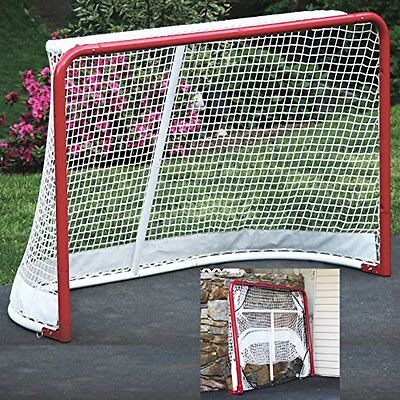 Ez Goal Folding Hockey With Net - All Weather Whse Pro Inch Red White Regulation