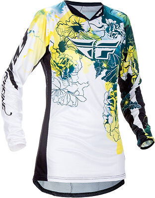Fly 2017 Womens Girls Kinetic Teal White ATV MX Motocross Offroad Riding Jersey