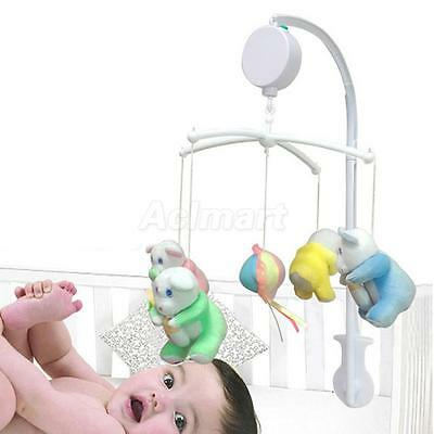 "12 Song Auto Music Box+5 Baby Crib Mobile Bed Bell Toy Holder Bracket 38"" Height"