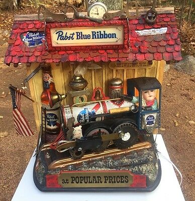 Pabst Blue Ribbon Light motion Train Beer Sign Assemblage
