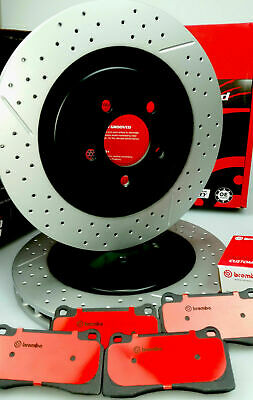 slotted & drilled FRONT & REAR brake rotors + BREMBO pads FPV BA BF FG, 4 POT