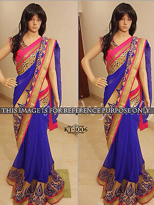 Red Indian Designer New Embroidery Bollywood Sari Asian Wedding Party Wear Sari