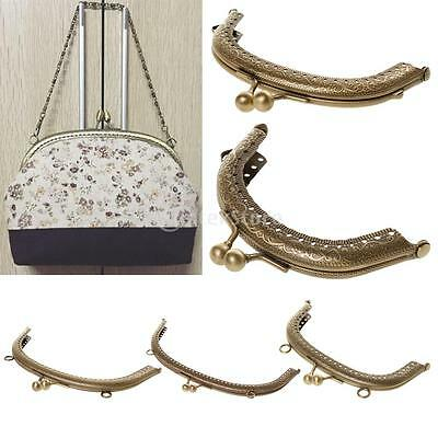 Sew In Bronze Coin Bag Evening Purse Metal Frame Kiss Clasp Fastening