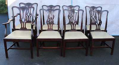Set 8 Georgian style Mahogany Dining Chairs. 6+ 2 Pop out neutral seats 1920's