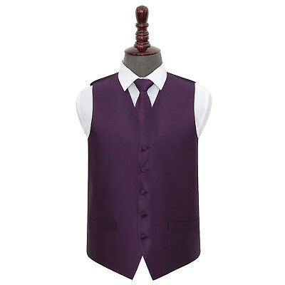 DQT Woven Plain Solid Check Cadbury Purple Mens Wedding Waistcoat & Tie Set