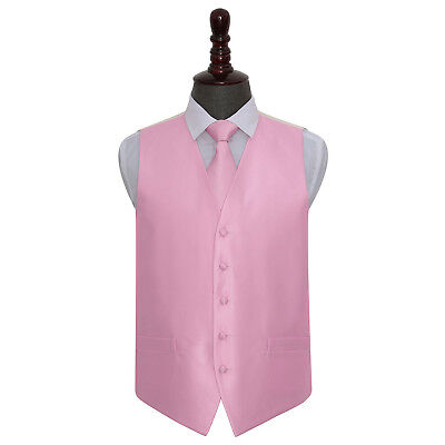 DQT Woven Plain Solid Check Light Pink Mens Wedding Waistcoat & Tie Set