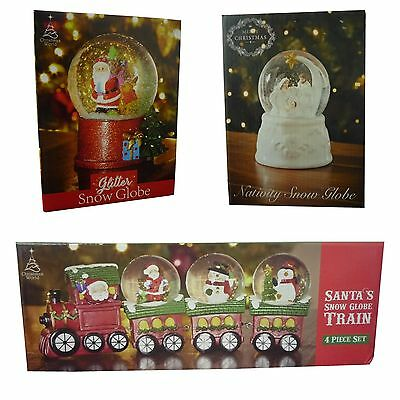 Glitter Snow Globe Xmas Christmas Santa Nativity Train Snowman Penguin Ornament