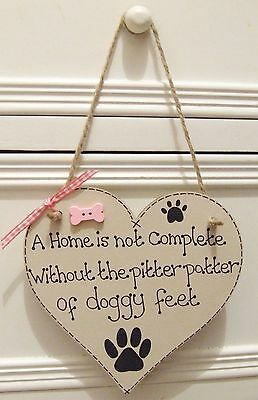Handmade Personalised Plaque Sign Pet Dog Heart Bone Breed Shabby Chic Home Gift