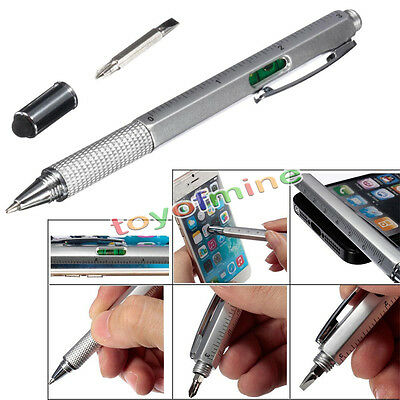 6 in1 Touch Screen Stylus Ballpoint Pen with Spirit Level Ruler Screwdriver Tool