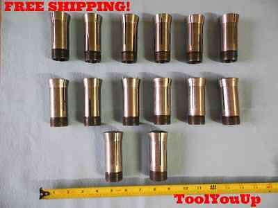 14 Pcs Lot Of 5C Collet Sizes Include 23/32 13/16 29/32 13/32 And Many More