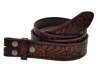 Buckle Rage Embossed Western Leather Snap on Belt Buckle Brown Emboss Strap
