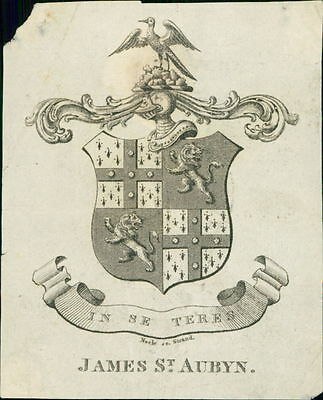 JAMES ST AUBYN  Armorial Bookplate   Neele sc. Strand   JD.1250