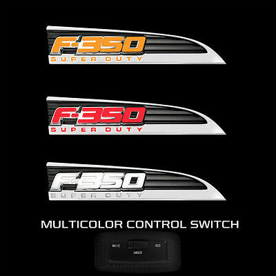 RECON Lighting Chrome Illuminated Emblem Side Fender Multi Color 11-16 Ford F350