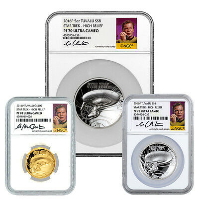 2016-P High Relief Gold&Silver Star Trek Enterprise 3-Coin NGC PF70 UC SKU43669