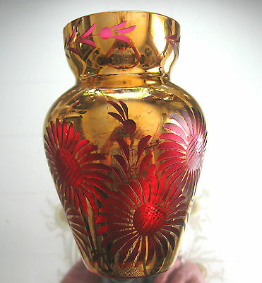 Fabulous Art Nouveau C.1915  Itaglio  Deep Cranberry Glass And Gold Vase!!!