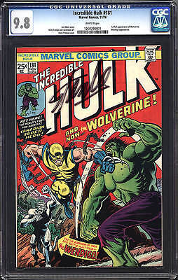 INCREDIBLE HULK #181 CGC 9.8 1st FULL app WOLVERINE AUTO STAN LEE  WHITE PAGES