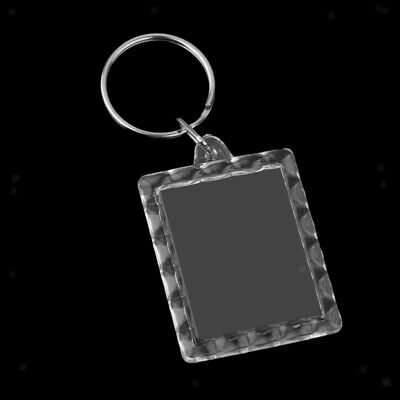 10x Clear Acrylic Rectangle Blank Keyring Insert Passport Photo Keychain DIY
