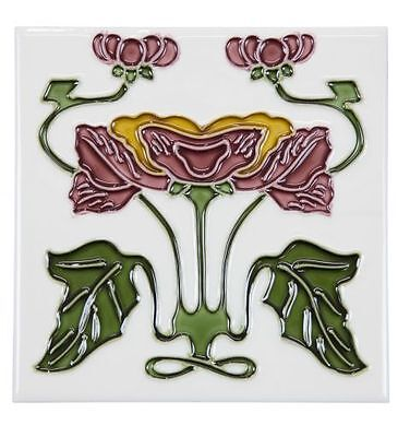 52A Flower Tile, Yellow/Burgundy with White