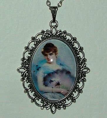 Large Glass Cameo Girl With Feather Fan Victorian Style Dk Silver Plated Pendant