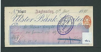 wbc. - CHEQUE - CH962 - USED -1898/99 - ULSTER BANK, AUGHNACLOY